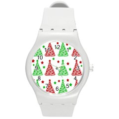 Decorative Christmas trees pattern - White Round Plastic Sport Watch (M)