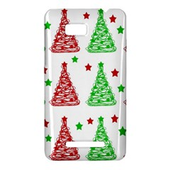 Decorative Christmas trees pattern - White HTC One SU T528W Hardshell Case