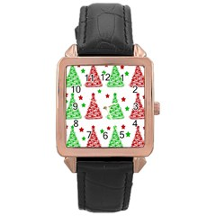 Decorative Christmas trees pattern - White Rose Gold Leather Watch