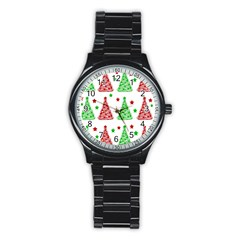 Decorative Christmas trees pattern - White Stainless Steel Round Watch