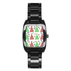 Decorative Christmas trees pattern - White Stainless Steel Barrel Watch