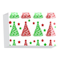 Decorative Christmas trees pattern - White 4 x 6  Acrylic Photo Blocks