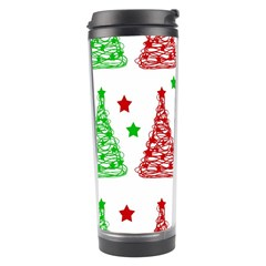 Decorative Christmas trees pattern - White Travel Tumbler