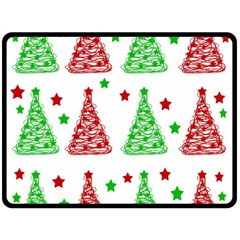 Decorative Christmas trees pattern - White Double Sided Fleece Blanket (Large)