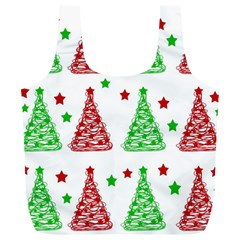 Decorative Christmas trees pattern - White Full Print Recycle Bags (L)