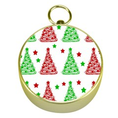 Decorative Christmas trees pattern - White Gold Compasses