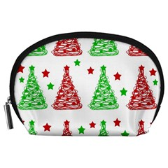 Decorative Christmas trees pattern - White Accessory Pouches (Large)