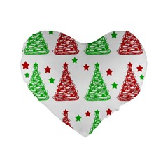Decorative Christmas trees pattern - White Standard 16  Premium Flano Heart Shape Cushions
