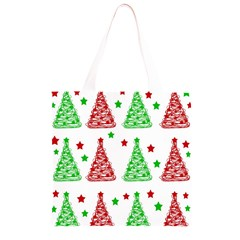 Decorative Christmas trees pattern - White Grocery Light Tote Bag