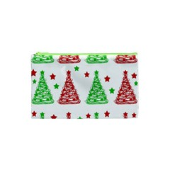 Decorative Christmas trees pattern - White Cosmetic Bag (XS)