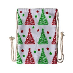 Decorative Christmas trees pattern - White Drawstring Bag (Small)
