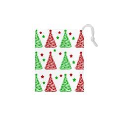 Decorative Christmas trees pattern - White Drawstring Pouches (XS)