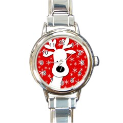 Christmas reindeer - red Round Italian Charm Watch