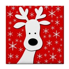 Christmas reindeer - red Tile Coasters