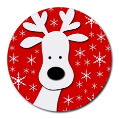 Christmas reindeer - red Round Mousepads
