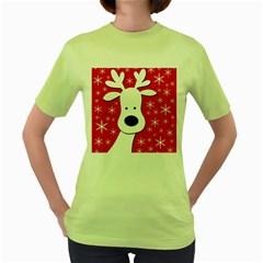 Christmas reindeer - red Women s Green T-Shirt