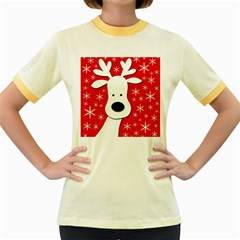 Christmas reindeer - red Women s Fitted Ringer T-Shirts