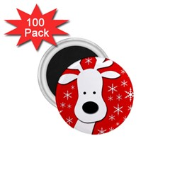 Christmas reindeer - red 1.75  Magnets (100 pack)