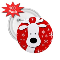 Christmas reindeer - red 2.25  Buttons (100 pack)