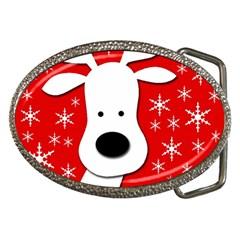 Christmas reindeer - red Belt Buckles