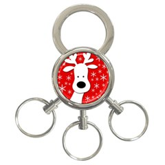 Christmas reindeer - red 3-Ring Key Chains