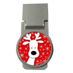 Christmas reindeer - red Money Clips (Round)