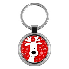 Christmas reindeer - red Key Chains (Round)