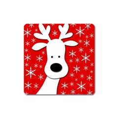 Christmas Reindeer   Red Square Magnet