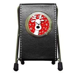 Christmas reindeer - red Pen Holder Desk Clocks