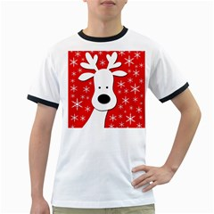Christmas reindeer - red Ringer T-Shirts