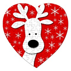 Christmas reindeer - red Jigsaw Puzzle (Heart)