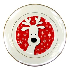 Christmas reindeer - red Porcelain Plates