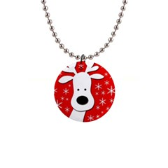 Christmas reindeer - red Button Necklaces
