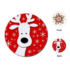 Christmas reindeer - red Playing Cards (Round)