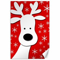 Christmas Reindeer   Red Canvas 24  X 36
