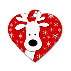 Christmas reindeer - red Dog Tag Heart (One Side)