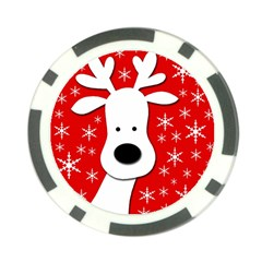 Christmas reindeer - red Poker Chip Card Guards (10 pack)