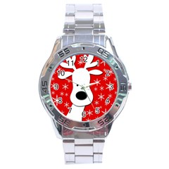 Christmas reindeer - red Stainless Steel Analogue Watch
