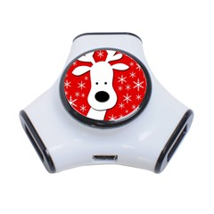 Christmas reindeer - red 3-Port USB Hub