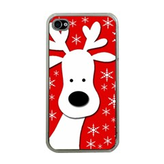 Christmas reindeer - red Apple iPhone 4 Case (Clear)