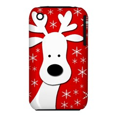 Christmas reindeer - red Apple iPhone 3G/3GS Hardshell Case (PC+Silicone)