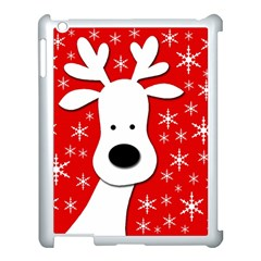 Christmas reindeer - red Apple iPad 3/4 Case (White)
