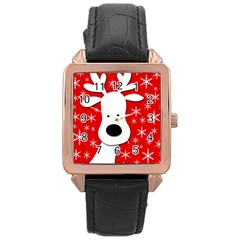 Christmas reindeer - red Rose Gold Leather Watch