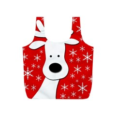 Christmas reindeer - red Full Print Recycle Bags (S)