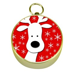 Christmas reindeer - red Gold Compasses