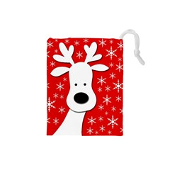 Christmas reindeer - red Drawstring Pouches (Small)