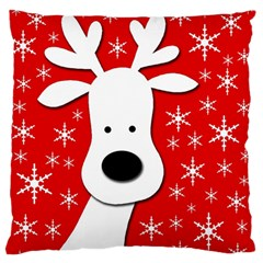 Christmas reindeer - red Large Flano Cushion Case (Two Sides)