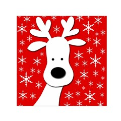 Christmas reindeer - red Small Satin Scarf (Square)
