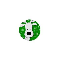 Christmas reindeer - green 1  Mini Magnets