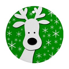 Christmas reindeer - green Ornament (Round)